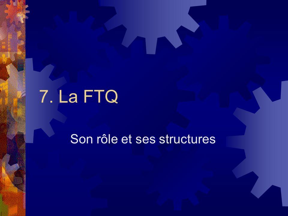 7. La FTQ Son rôle et ses structures