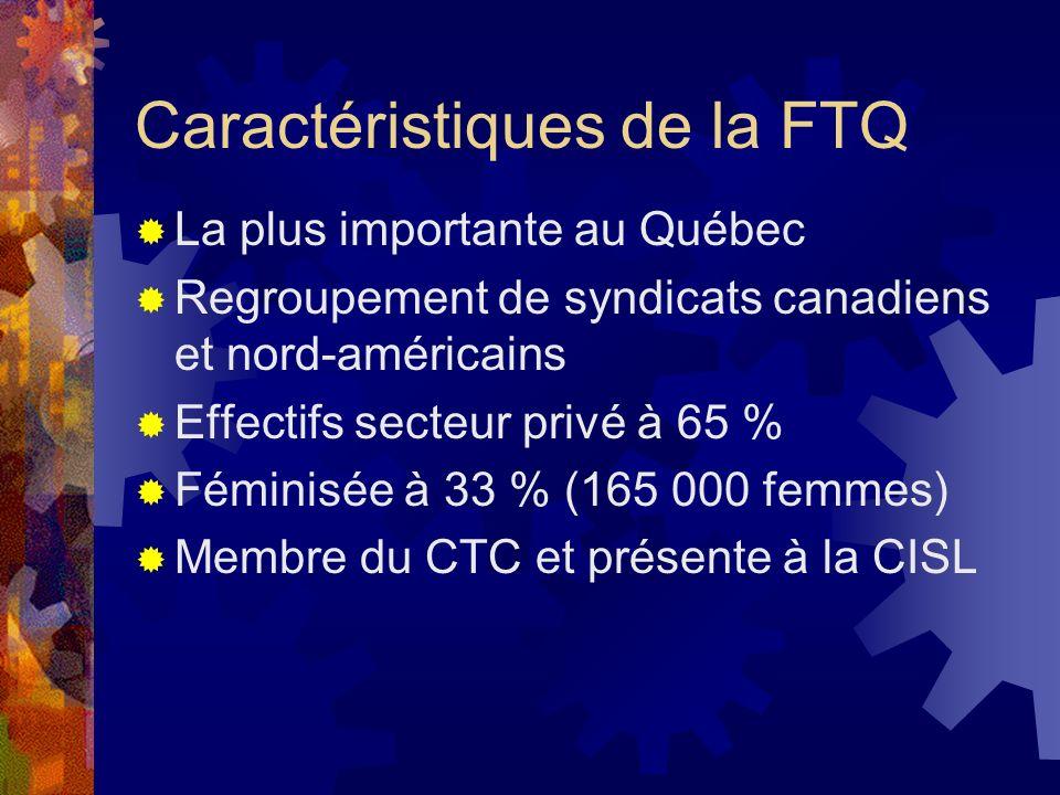Caractéristiques de la FTQ La plus importante au Québec Regroupement de syndicats canadiens et nord-américains Effectifs secteur privé à 65 % Féminisé