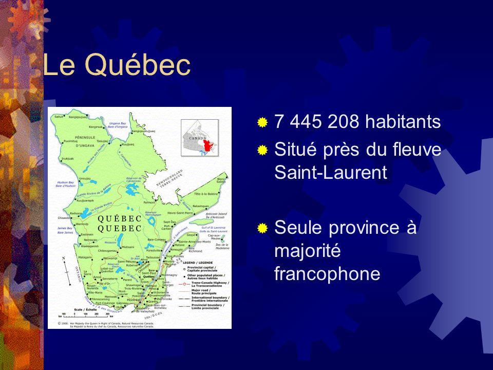 Le Québec 7 445 208 habitants Situé près du fleuve Saint-Laurent Seule province à majorité francophone