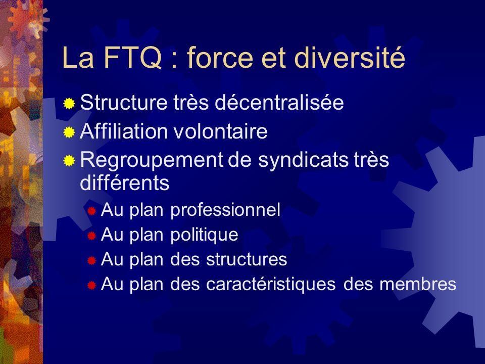 La FTQ : force et diversité Structure très décentralisée Affiliation volontaire Regroupement de syndicats très différents Au plan professionnel Au pla
