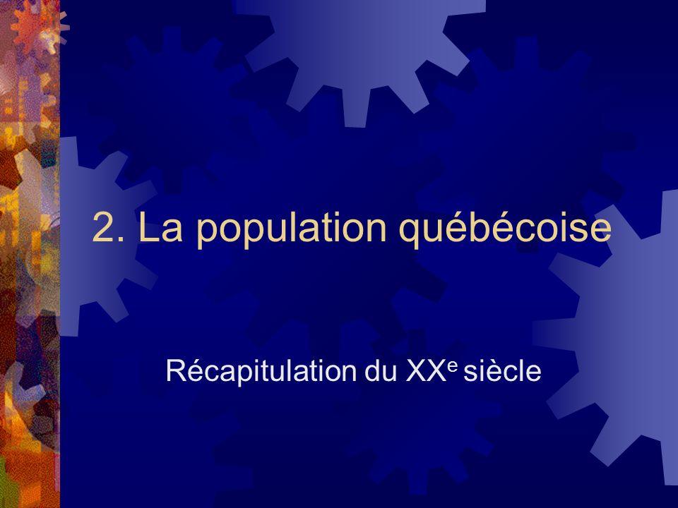 2. La population québécoise Récapitulation du XX e siècle