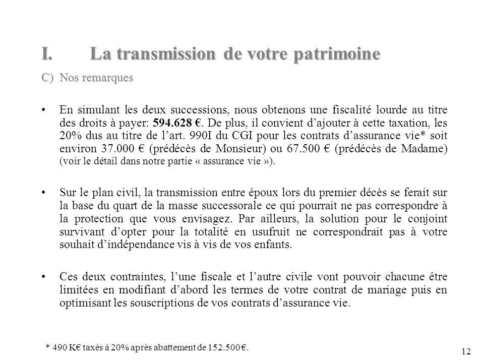 12 I.La transmission de votre patrimoine C) Nos remarques En simulant les deux successions, nous obtenons une fiscalité lourde au titre des droits à payer: 594.628.