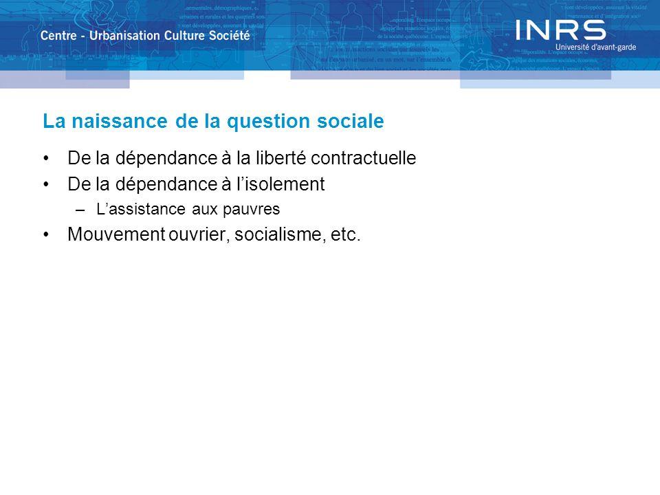 La naissance de la question sociale De la dépendance à la liberté contractuelle De la dépendance à lisolement –Lassistance aux pauvres Mouvement ouvrier, socialisme, etc.