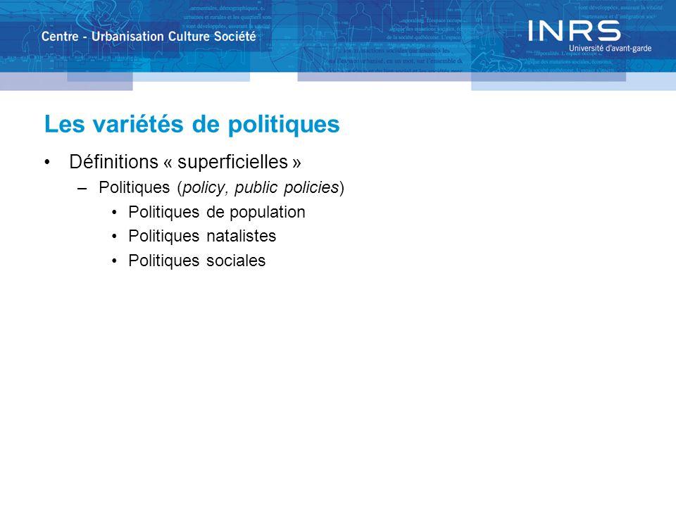 Les variétés de politiques Définitions « superficielles » –Politiques (policy, public policies) Politiques de population Politiques natalistes Politiques sociales