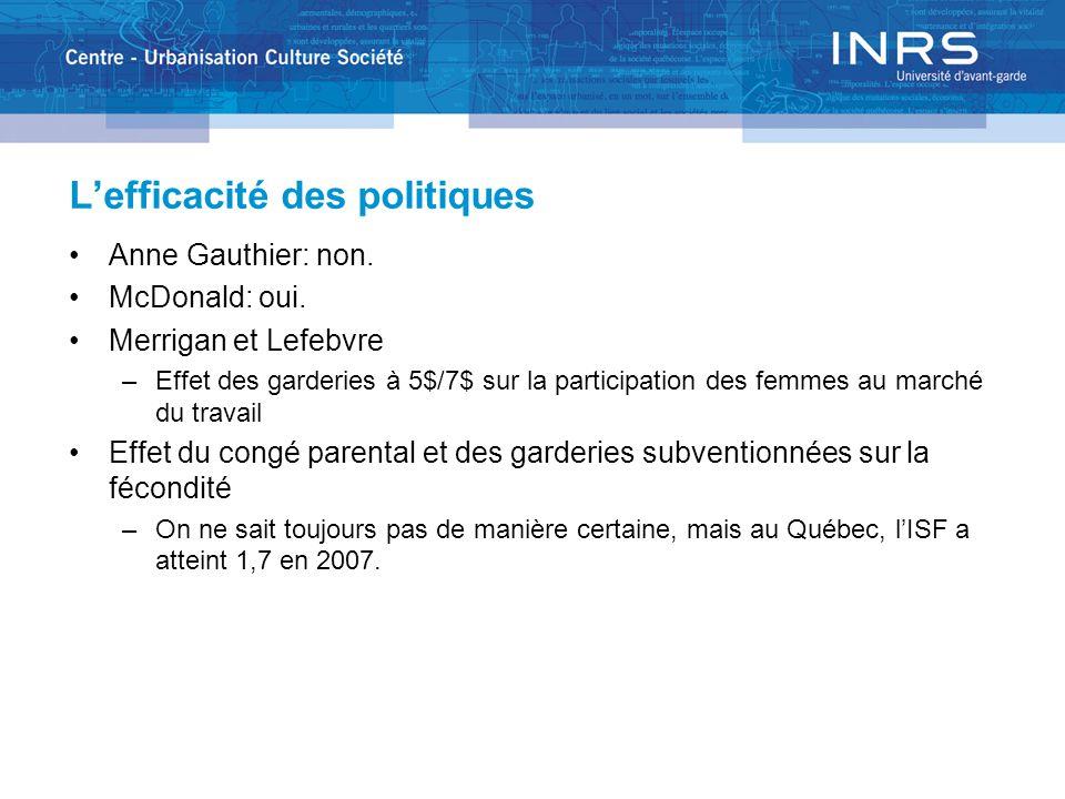 Lefficacité des politiques Anne Gauthier: non. McDonald: oui.