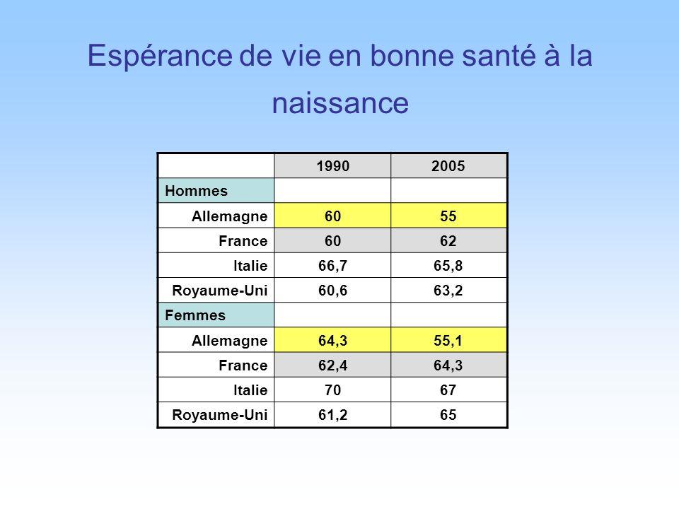 Espérance de vie en bonne santé à la naissance 19902005 Hommes Allemagne6055 France6062 Italie66,765,8 Royaume-Uni60,663,2 Femmes Allemagne64,355,1 France62,464,3 Italie7067 Royaume-Uni61,265