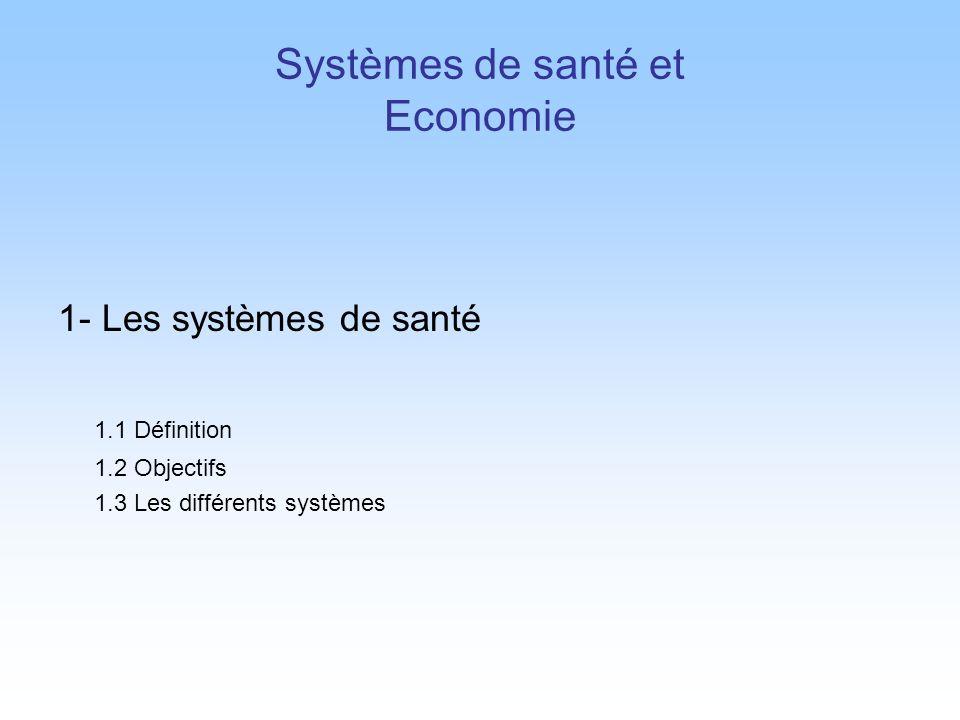 1- Les systèmes de santé 1.1 Définition 1.2 Objectifs 1.3 Les différents systèmes