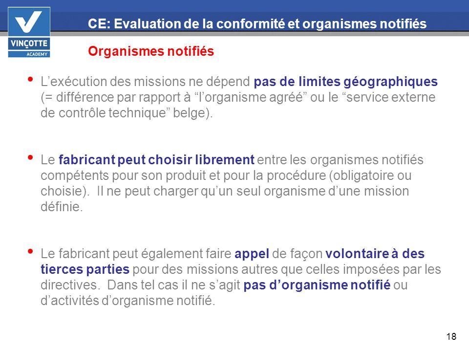 18 CE: Evaluation de la conformité et organismes notifiés Organismes notifiés Lexécution des missions ne dépend pas de limites géographiques (= différ