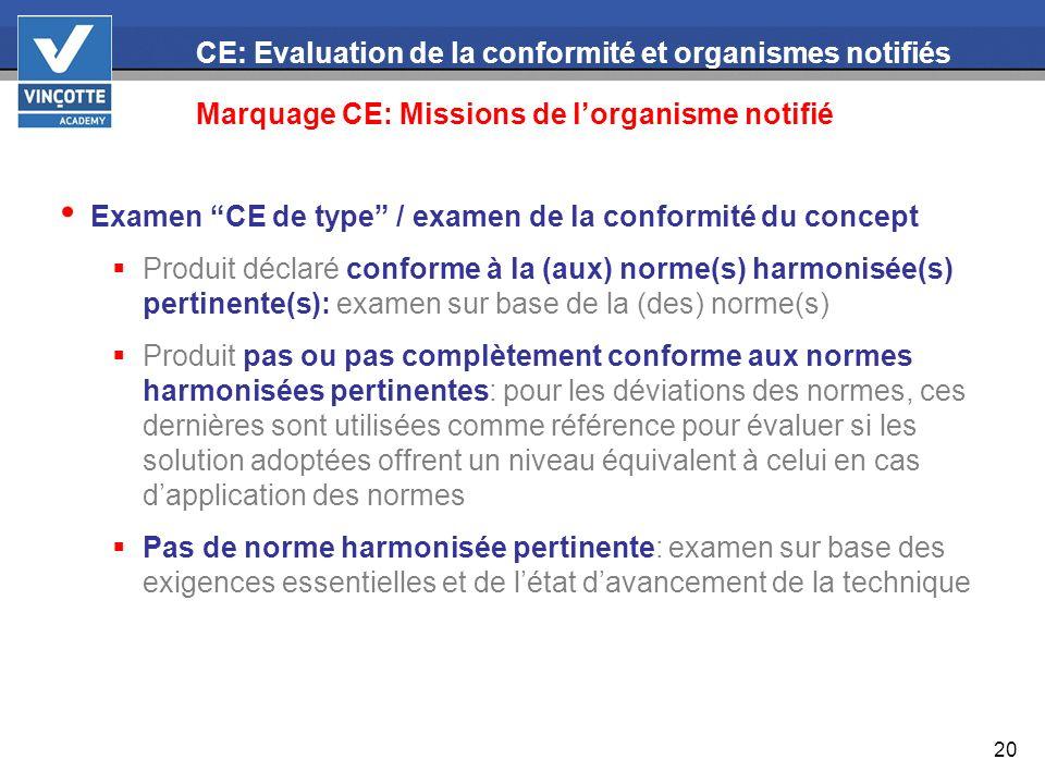 20 CE: Evaluation de la conformité et organismes notifiés Marquage CE: Missions de lorganisme notifié Examen CE de type / examen de la conformité du c
