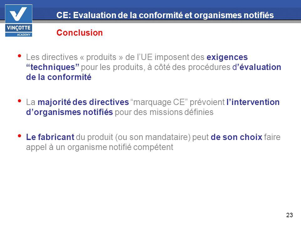23 CE: Evaluation de la conformité et organismes notifiés Conclusion Les directives « produits » de lUE imposent des exigences techniques pour les pro