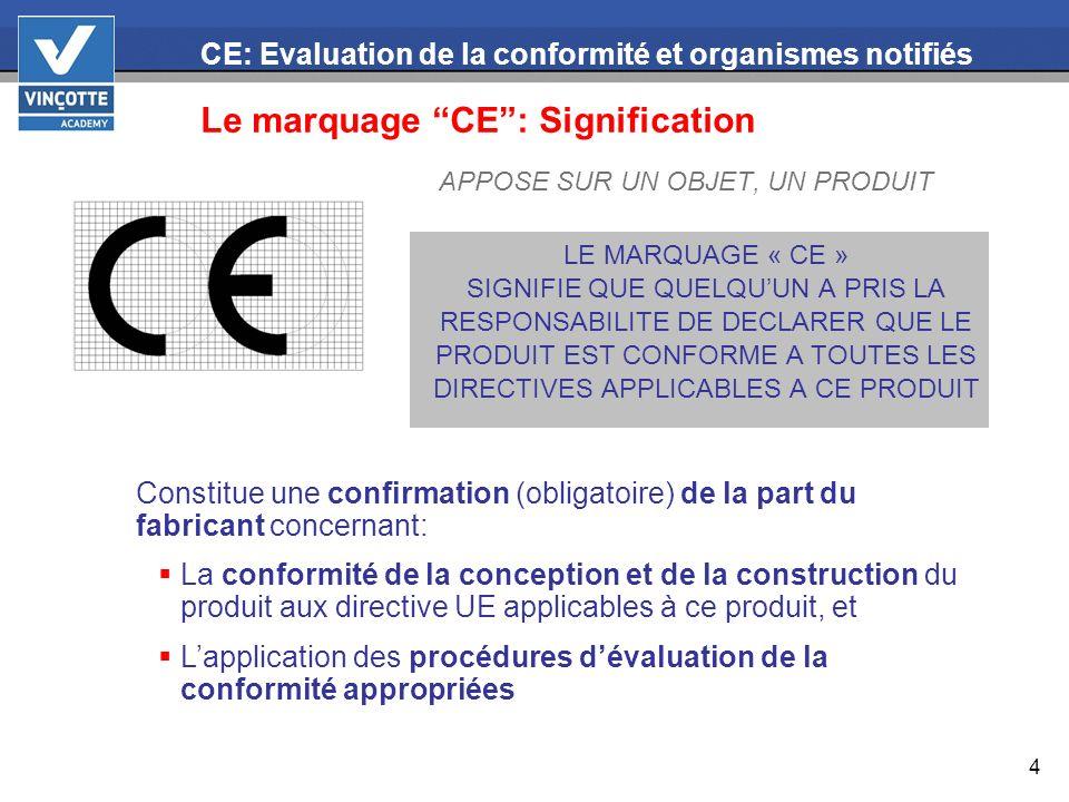 15 CE: Evaluation de la conformité et organismes notifiés Organismes notifiés La plupart des directives prévoit lintervention dun organisme notifié, pour une partie ou pour lensemble des produits dans leur champ dapplication.