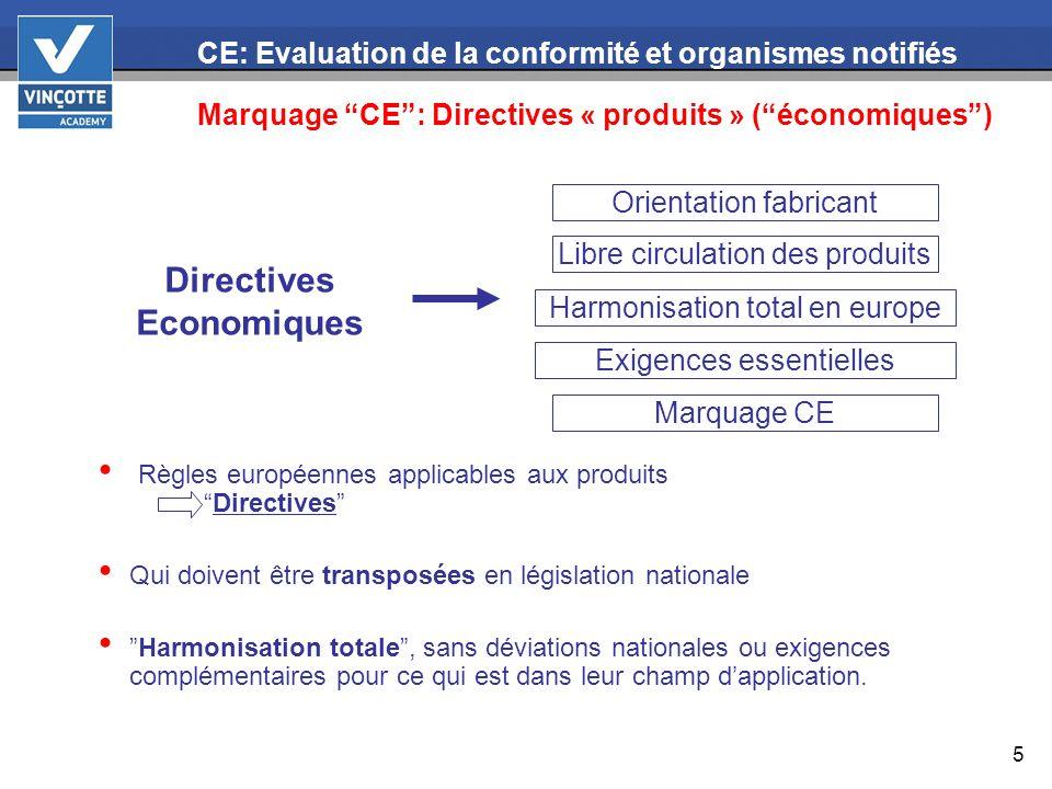 5 CE: Evaluation de la conformité et organismes notifiés Marquage CE: Directives « produits » (économiques) Règles européennes applicables aux produit