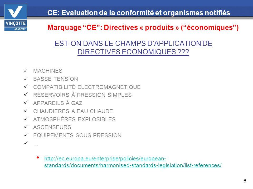6 EST-ON DANS LE CHAMPS DAPPLICATION DE DIRECTIVES ECONOMIQUES ??? MACHINES BASSE TENSION COMPATIBILITÉ ELECTROMAGNÉTIQUE RÉSERVOIRS À PRESSION SIMPLE