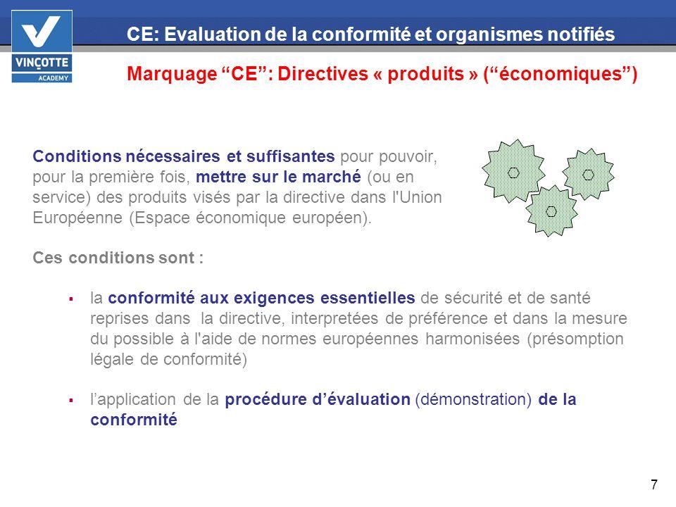 18 CE: Evaluation de la conformité et organismes notifiés Organismes notifiés Lexécution des missions ne dépend pas de limites géographiques (= différence par rapport à lorganisme agréé ou le service externe de contrôle technique belge).