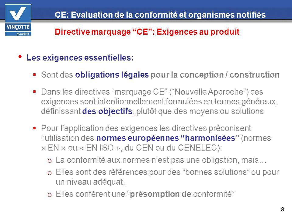 8 CE: Evaluation de la conformité et organismes notifiés Directive marquage CE: Exigences au produit Les exigences essentielles: Sont des obligations