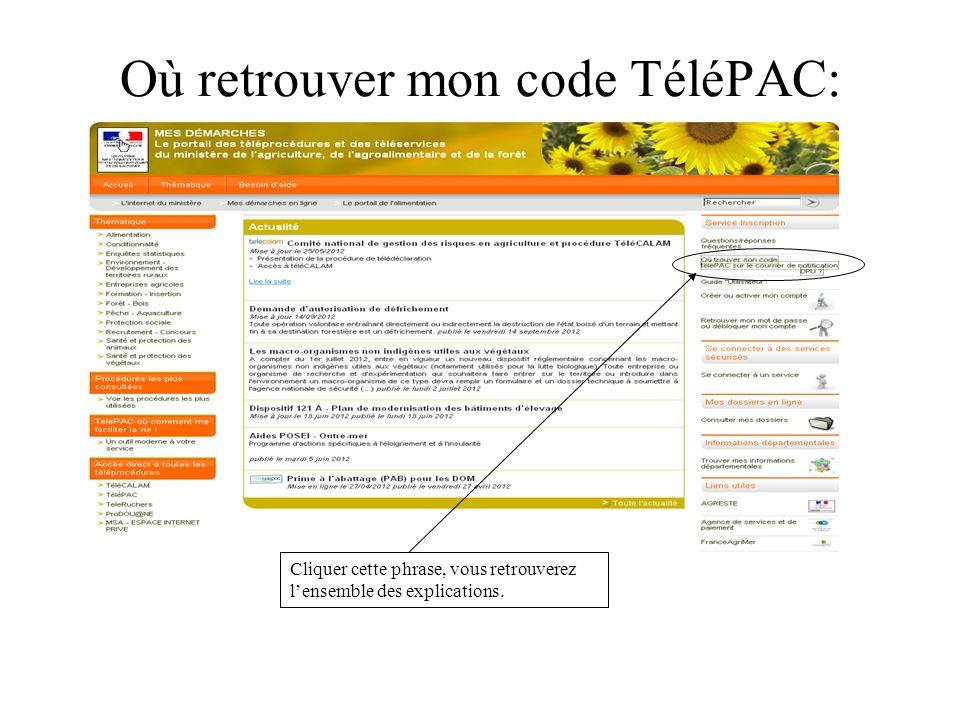 Où retrouver mon code TéléPAC: Cliquer cette phrase, vous retrouverez lensemble des explications.