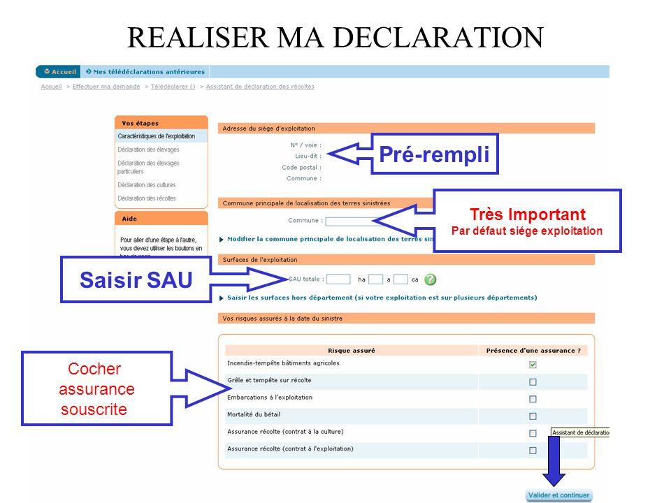 REALISER MA DECLARATION Pré-rempli Très Important Par défaut siége exploitation Saisir SAU Cocher assurance souscrite