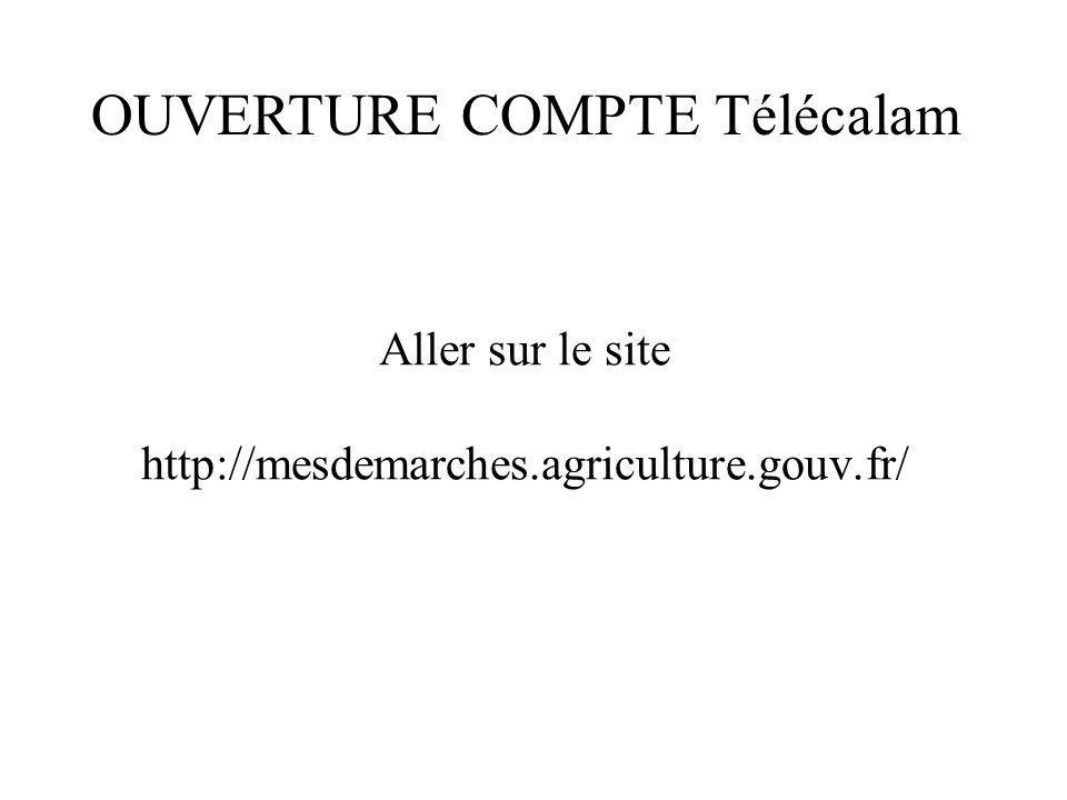 Aller sur le site http://mesdemarches.agriculture.gouv.fr/ OUVERTURE COMPTE Télécalam