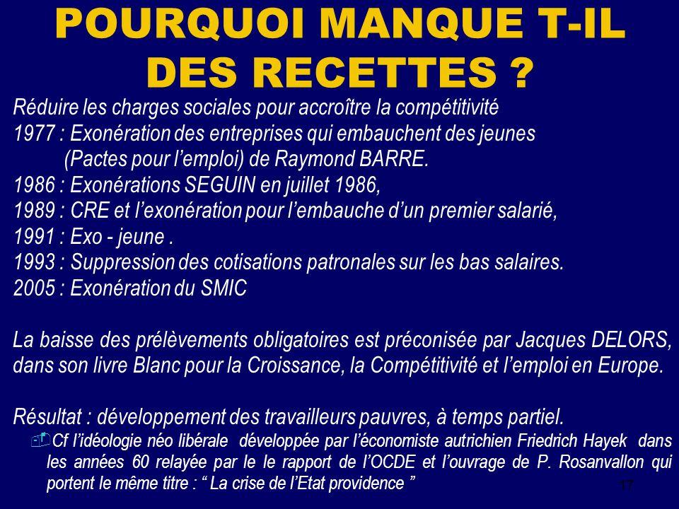 17 POURQUOI MANQUE T-IL DES RECETTES .