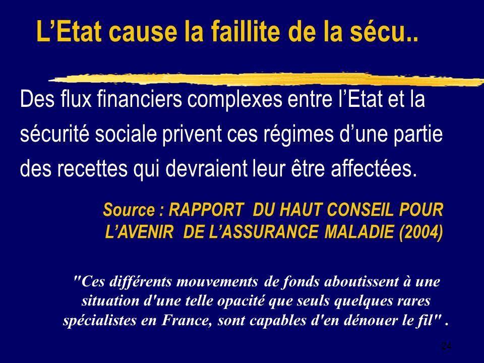24 Des flux financiers complexes entre lEtat et la sécurité sociale privent ces régimes dune partie des recettes qui devraient leur être affectées.