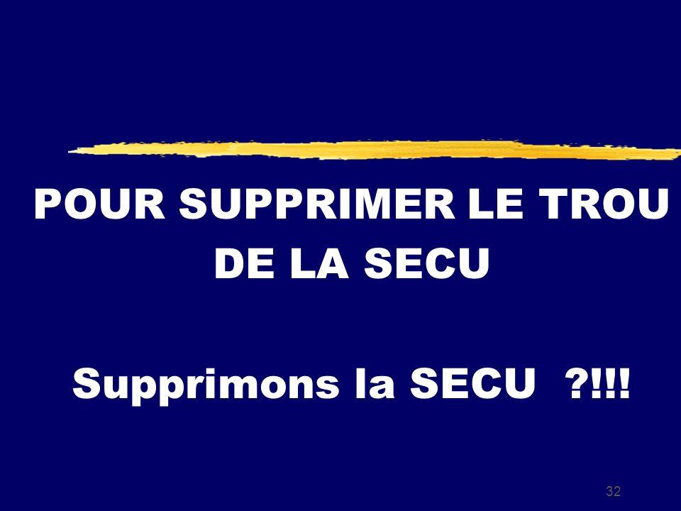 32 POUR SUPPRIMER LE TROU DE LA SECU Supprimons la SECU !!!