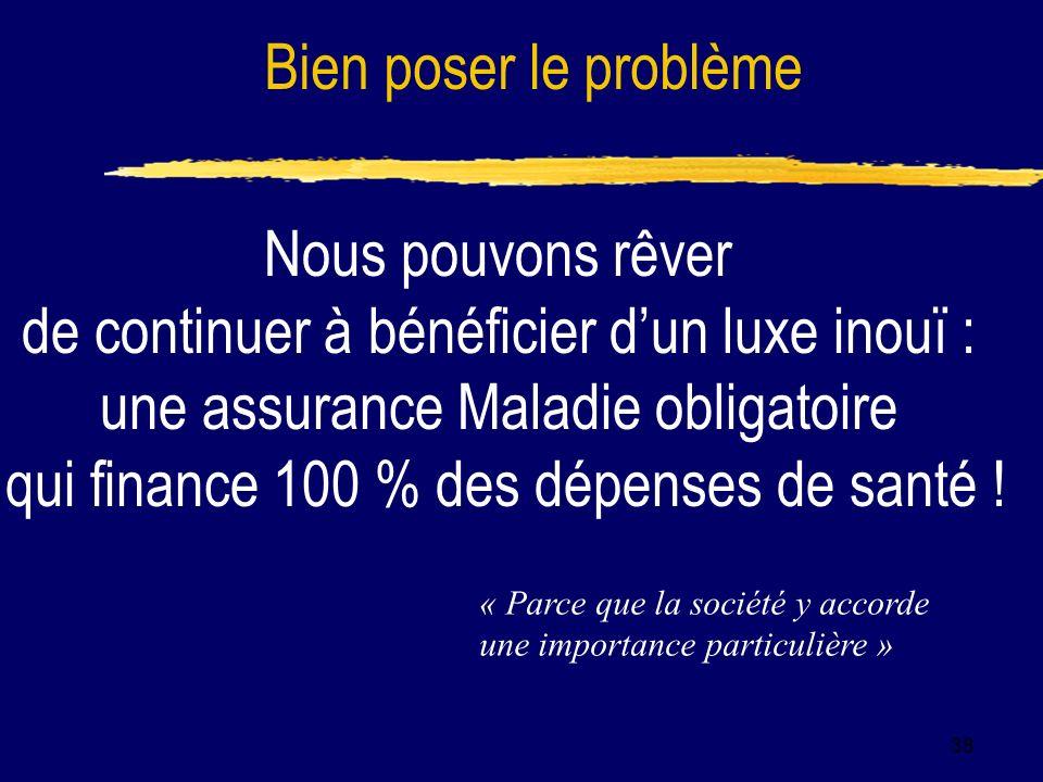 38 Nous pouvons rêver de continuer à bénéficier dun luxe inouï : une assurance Maladie obligatoire qui finance 100 % des dépenses de santé .