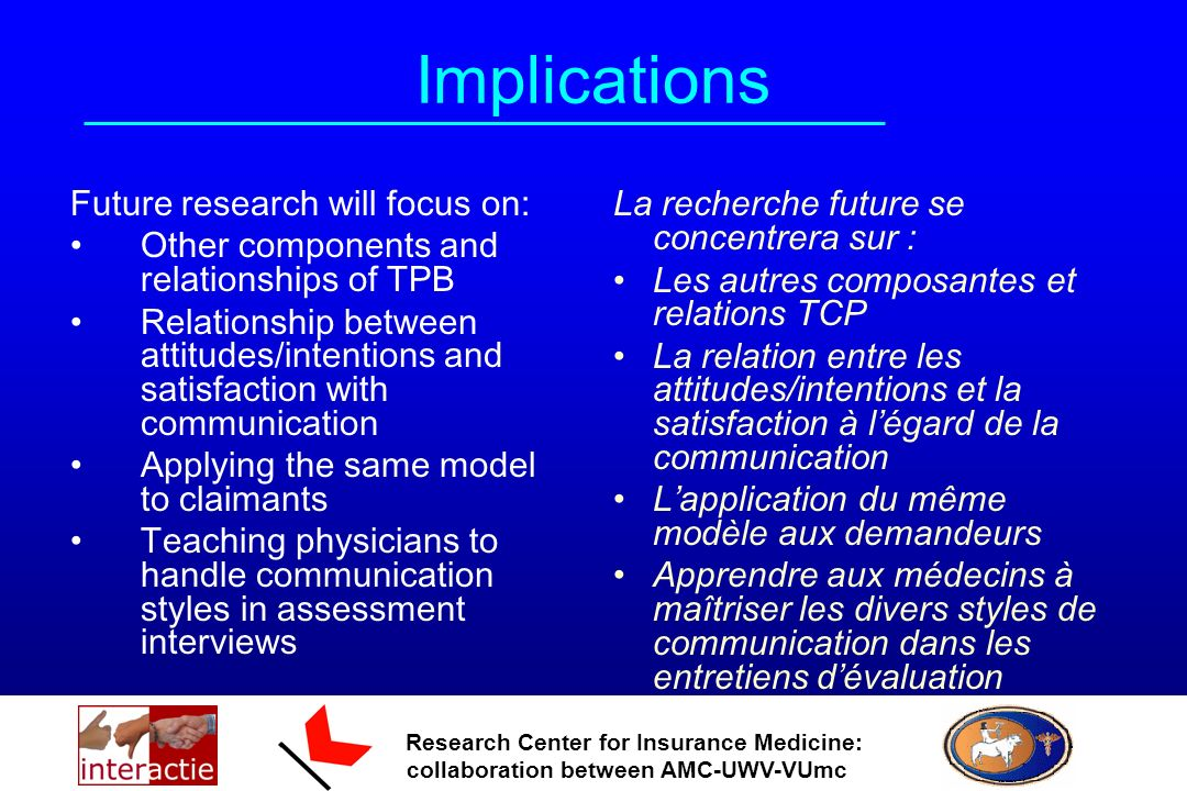 Research Center for Insurance Medicine: collaboration between AMC-UWV-VUmc Implications Future research will focus on: Other components and relationships of TPB Relationship between attitudes/intentions and satisfaction with communication Applying the same model to claimants Teaching physicians to handle communication styles in assessment interviews La recherche future se concentrera sur : Les autres composantes et relations TCP La relation entre les attitudes/intentions et la satisfaction à légard de la communication Lapplication du même modèle aux demandeurs Apprendre aux médecins à maîtriser les divers styles de communication dans les entretiens dévaluation