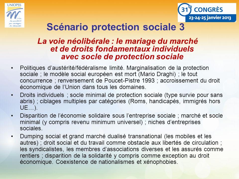 Scénario protection sociale 3 La voie néolibérale : le mariage du marché et de droits fondamentaux individuels avec socle de protection sociale Politi