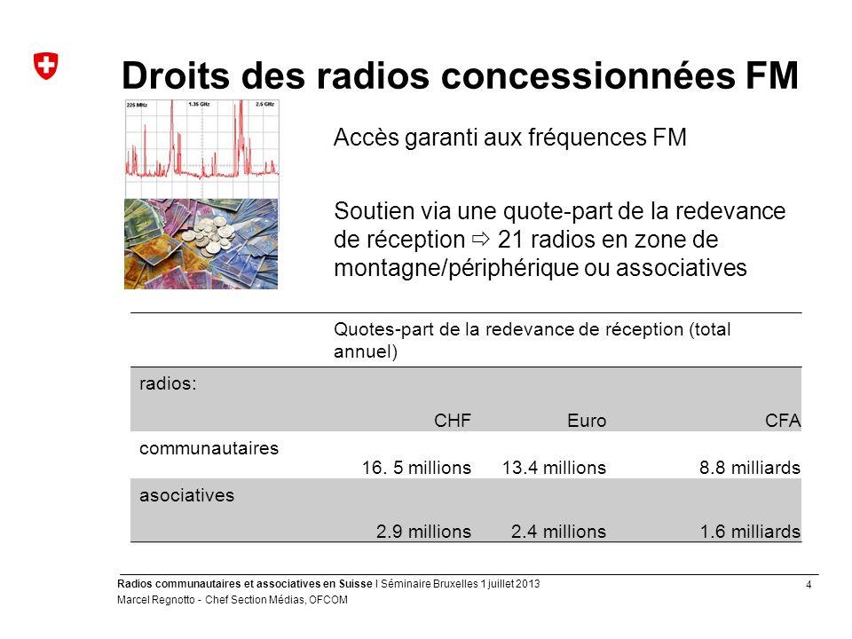 4 Radios communautaires et associatives en Suisse I Séminaire Bruxelles 1 juillet 2013 Marcel Regnotto - Chef Section Médias, OFCOM Droits des radios
