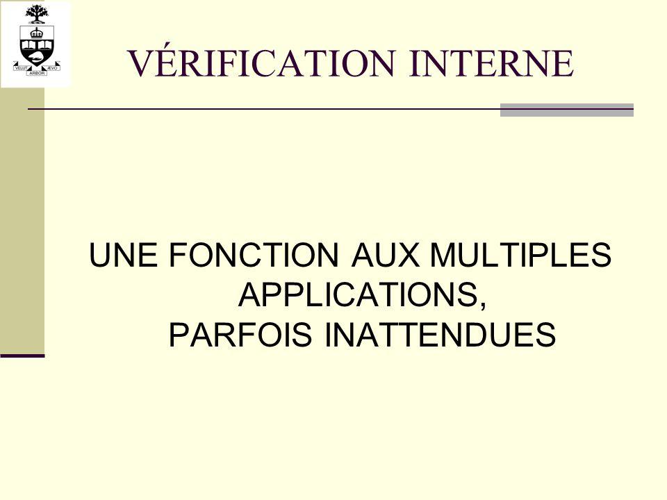 VÉRIFICATION INTERNE UNE FONCTION AUX MULTIPLES APPLICATIONS, PARFOIS INATTENDUES