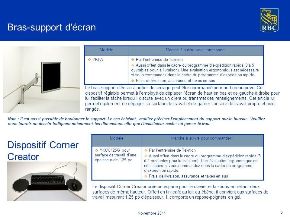 Le bras-support d écran à collier de serrage peut être commandé pour un bureau privé.