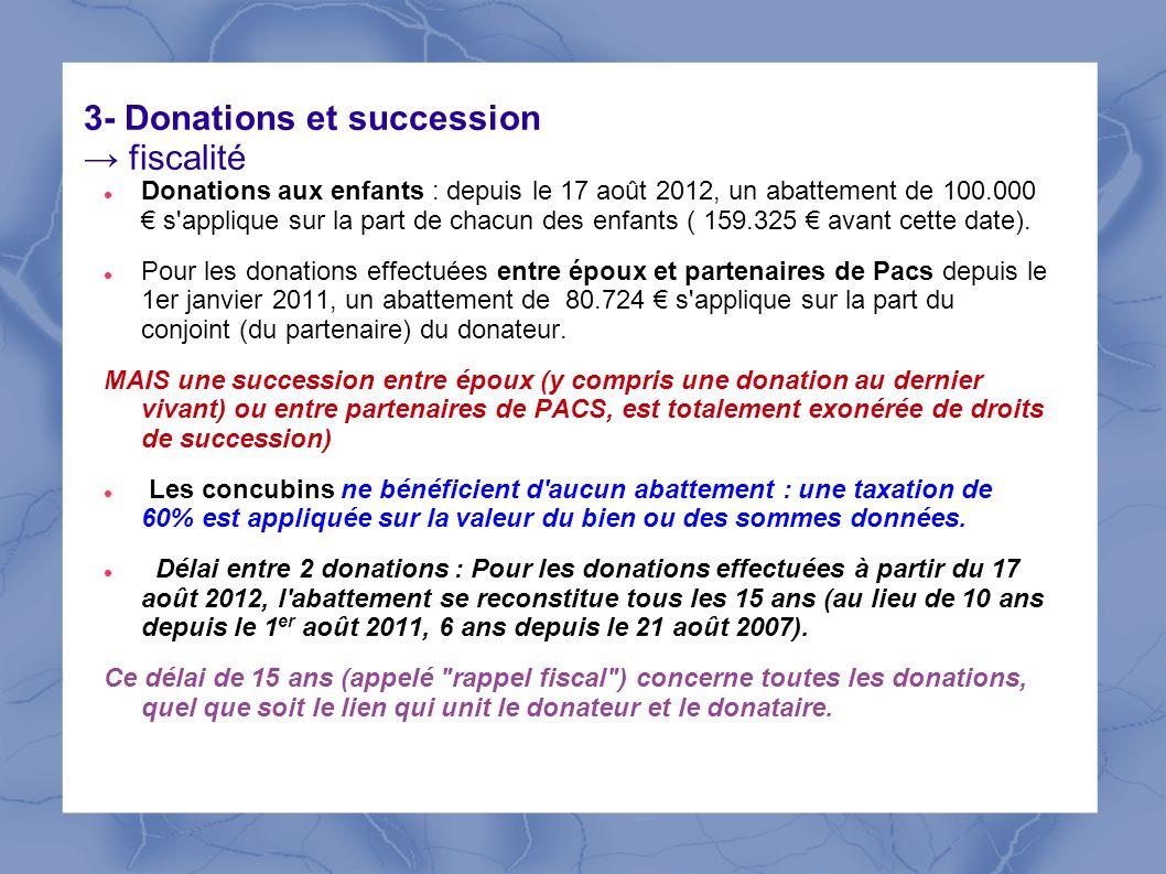 3- Donations et succession fiscalité Donations aux enfants : depuis le 17 août 2012, un abattement de 100.000 s'applique sur la part de chacun des enf