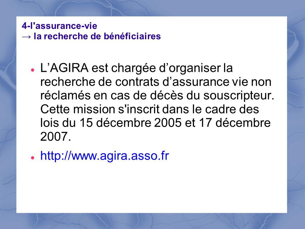 4-l'assurance-vie la recherche de bénéficiaires LAGIRA est chargée dorganiser la recherche de contrats dassurance vie non réclamés en cas de décès du