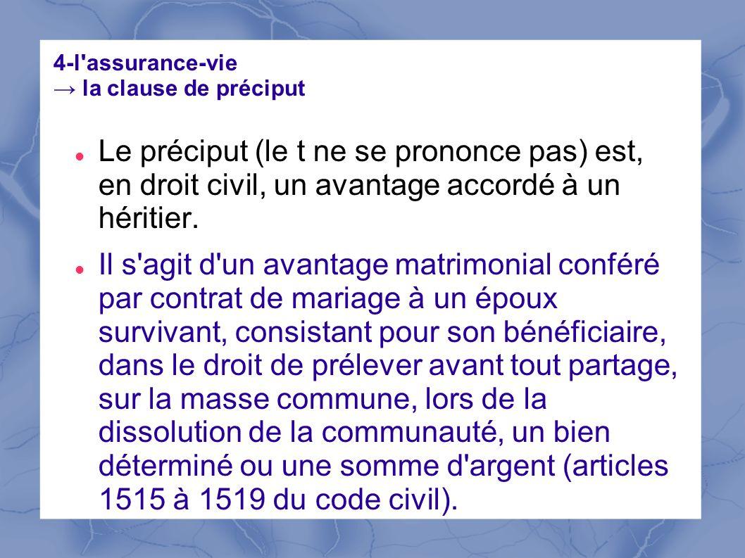 4-l'assurance-vie la clause de préciput Le préciput (le t ne se prononce pas) est, en droit civil, un avantage accordé à un héritier. Il s'agit d'un a
