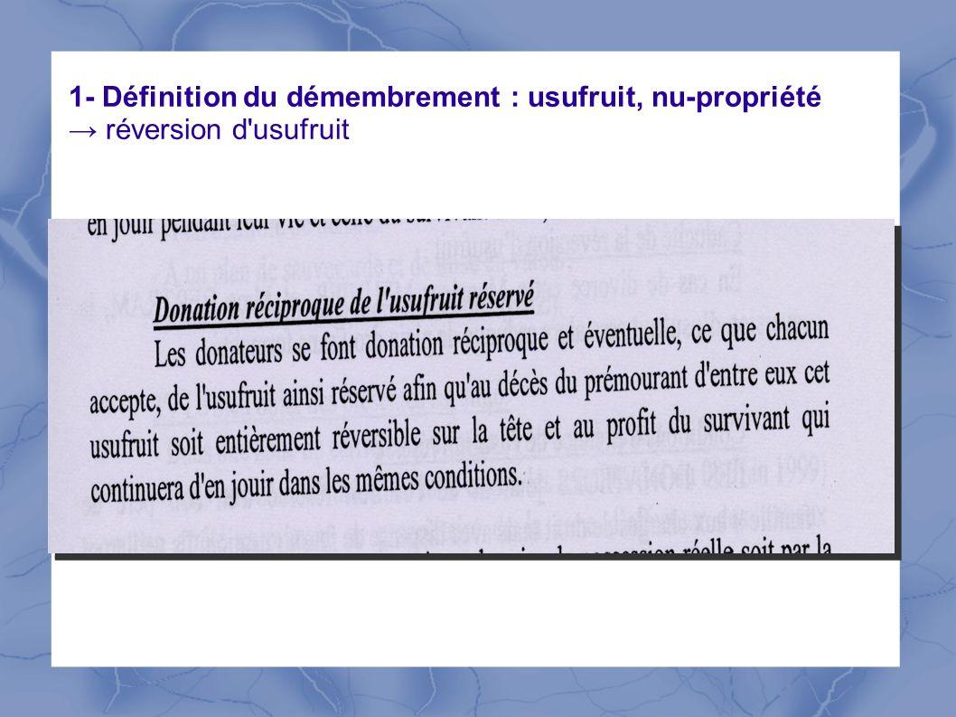 1- Définition du démembrement : usufruit, nu-propriété réversion d'usufruit