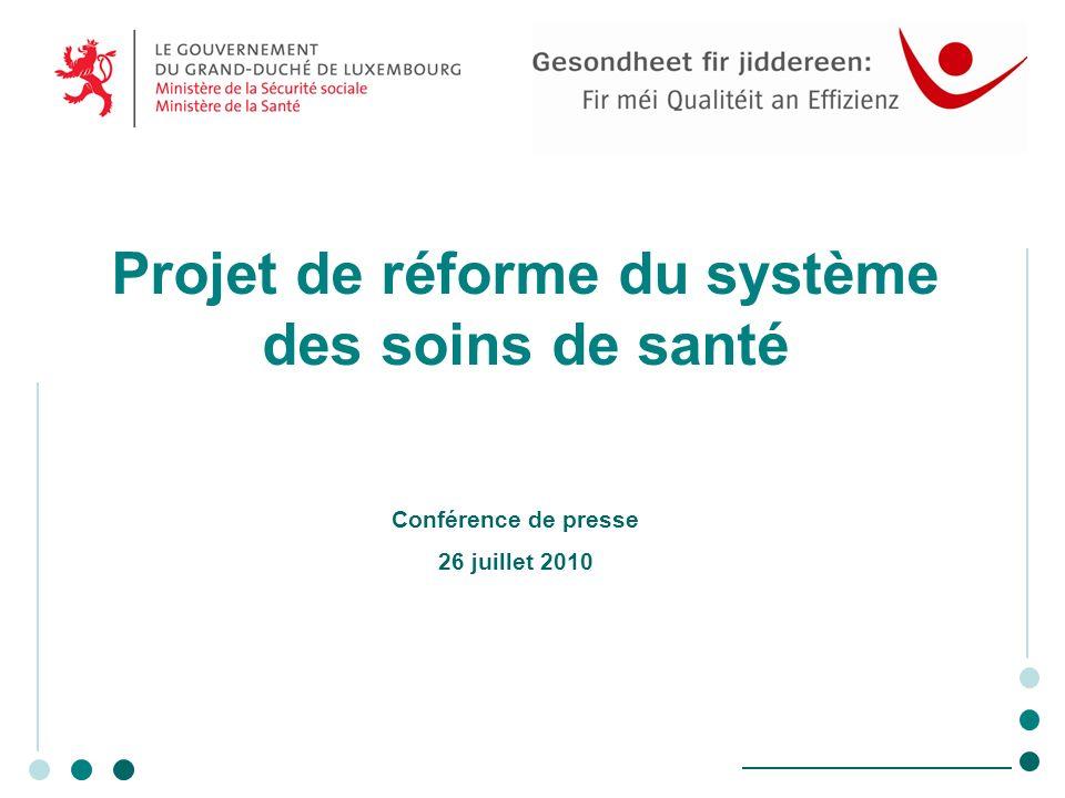 Projet de réforme du système des soins de santé Conférence de presse 26 juillet 2010