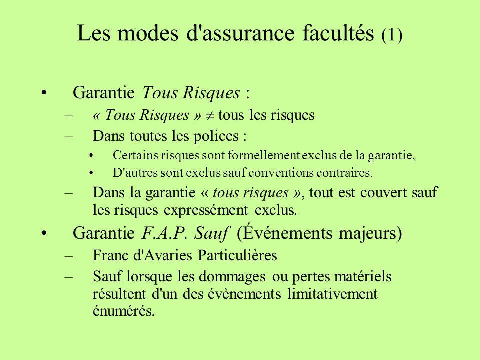 Les modes d assurance facultés (1) Garantie Tous Risques : –« Tous Risques » tous les risques –Dans toutes les polices : Certains risques sont formellement exclus de la garantie, D autres sont exclus sauf conventions contraires.