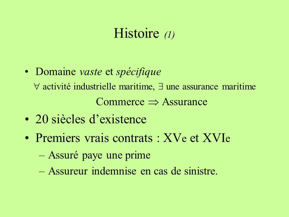 Histoire (1) Domaine vaste et spécifique activité industrielle maritime, une assurance maritime Commerce Assurance 20 siècles dexistence Premiers vrais contrats : XV e et XVI e –Assuré paye une prime –Assureur indemnise en cas de sinistre.