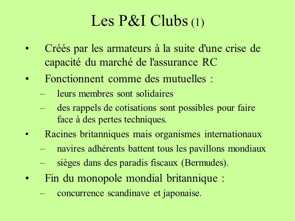 Les P&I Clubs (1) Créés par les armateurs à la suite d une crise de capacité du marché de l assurance RC Fonctionnent comme des mutuelles : –leurs membres sont solidaires –des rappels de cotisations sont possibles pour faire face à des pertes techniques.