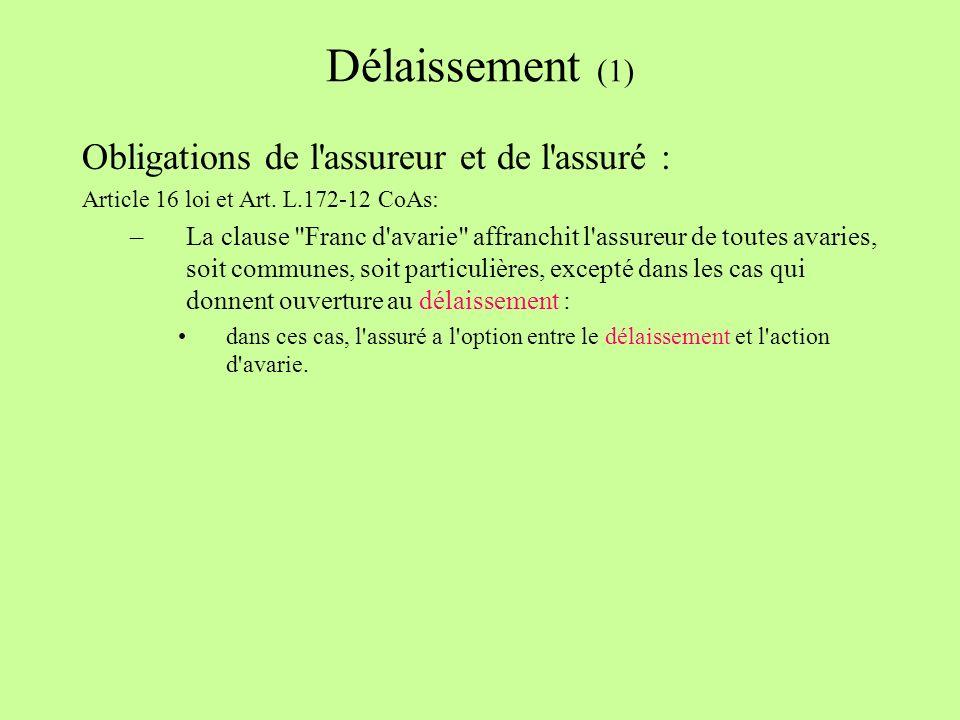 Délaissement (1) Obligations de l assureur et de l assuré : Article 16 loi et Art.