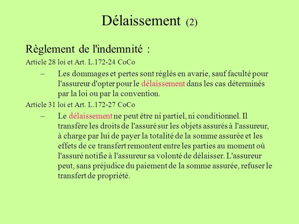 Délaissement (2) Règlement de l indemnité : Article 28 loi et Art.