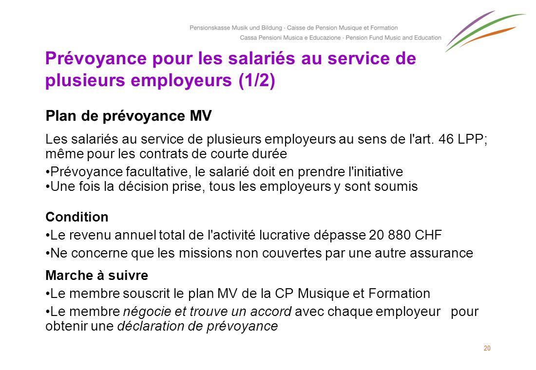 Prévoyance pour les salariés au service de plusieurs employeurs (1/2) Plan de prévoyance MV Les salariés au service de plusieurs employeurs au sens de