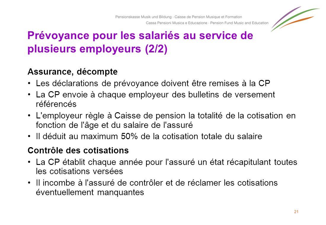 Prévoyance pour les salariés au service de plusieurs employeurs (2/2) Assurance, décompte Les déclarations de prévoyance doivent être remises à la CP