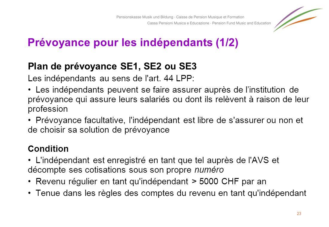 Prévoyance pour les indépendants (1/2) Plan de prévoyance SE1, SE2 ou SE3 Les indépendants au sens de l'art. 44 LPP: Les indépendants peuvent se faire