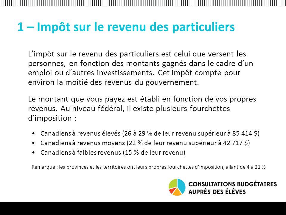 1 – Impôt sur le revenu des particuliers Limpôt sur le revenu des particuliers est celui que versent les personnes, en fonction des montants gagnés dans le cadre dun emploi ou dautres investissements.