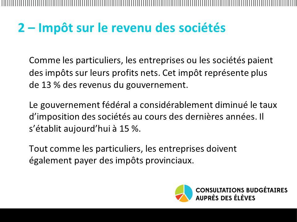 2 – Impôt sur le revenu des sociétés Comme les particuliers, les entreprises ou les sociétés paient des impôts sur leurs profits nets.