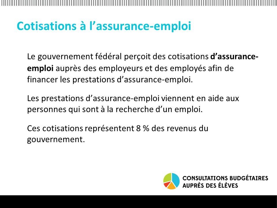 Cotisations à lassurance-emploi Le gouvernement fédéral perçoit des cotisations dassurance- emploi auprès des employeurs et des employés afin de financer les prestations dassurance-emploi.