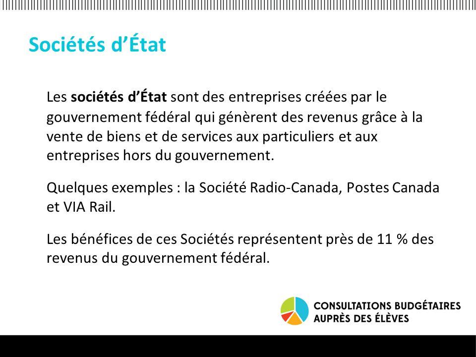 Sociétés dÉtat Les sociétés dÉtat sont des entreprises créées par le gouvernement fédéral qui génèrent des revenus grâce à la vente de biens et de services aux particuliers et aux entreprises hors du gouvernement.
