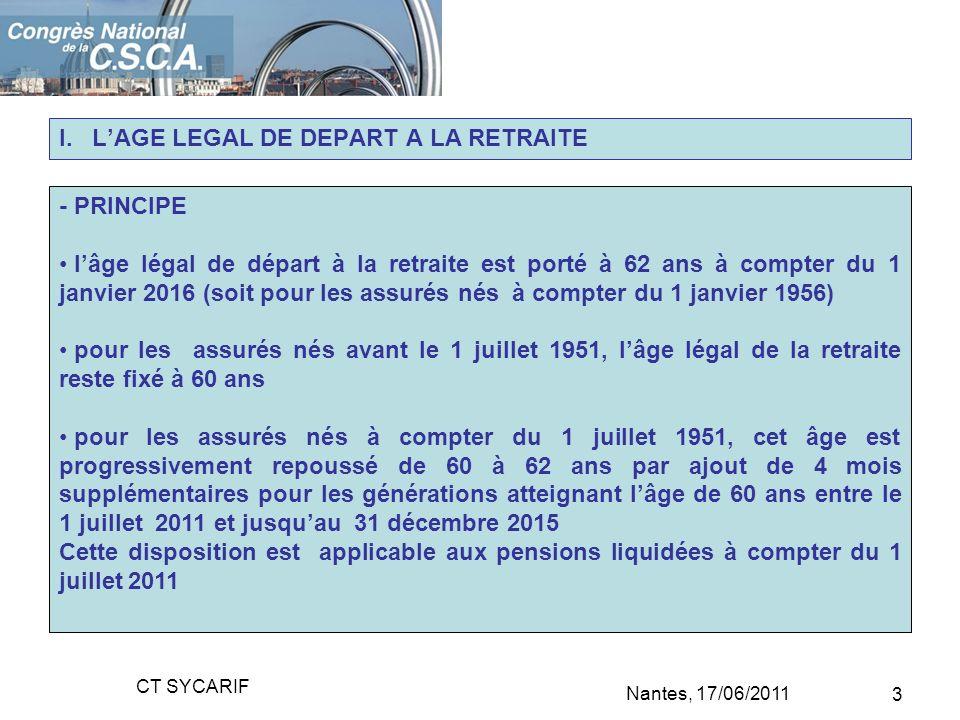 I. LAGE LEGAL DE DEPART A LA RETRAITE - PRINCIPE lâge légal de départ à la retraite est porté à 62 ans à compter du 1 janvier 2016 (soit pour les assu