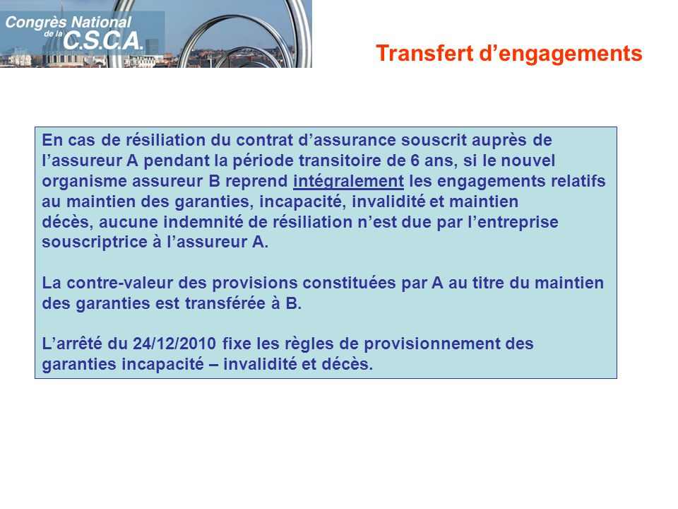 En cas de résiliation du contrat dassurance souscrit auprès de lassureur A pendant la période transitoire de 6 ans, si le nouvel organisme assureur B